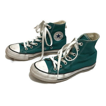Vintage KIDS Converse All Star Low Tops TEAL chuck Taylors Hipster Boho boys size 3 girls size 5