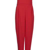 TALL Bandeau Plunge Jumpsuit - Red