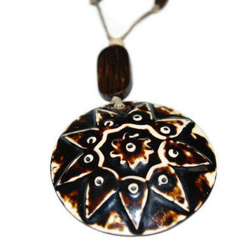 Unisex Brown and White Tribal Pendant Necklace ooak by chumaka