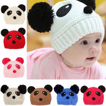 Lovely Animal Panda Baby Knitted Hats Kids Winter Keep Warm Crochet Beanie Caps    -MX8