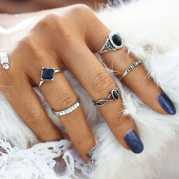2017 New Fashion Tibetan Black Stone Lucky Artificial Stone Crystal Midi Rings Midi Ring for Women Punk Rings Set Gift   0527
