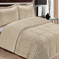 "Ultra Soft King Size Plush Comforter Three Piece Set (104"" x 90"") - Camel"