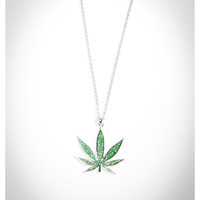 Green Bling Potleaf Necklace