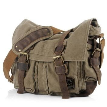 """Econoled Men's Trendy """"Colonial"""" Italian Style Messenger Bag with Leather Straps - Olive Drab Green"""