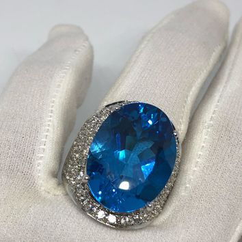 Vintage geniune London blue topaz White Sapphire 925 sterling silver Ring