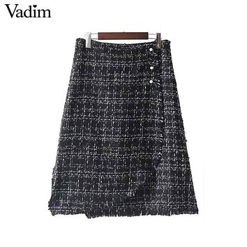 Retro beading pearl plaid midi skirts side split zipper vintage chic female autumn fashion skirt