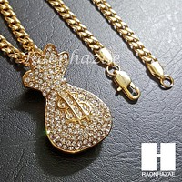Iced Out 316L Stainless steel Gold Dollar Sack Bill 5mm Cuban Chain SG014