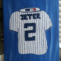 Hand painted wood framed canvas - Derek Jeter Jersey