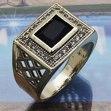 Gold Layered Men Mens Ring, with Black Cubic Zirconia, by Folks Jewelry