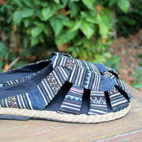 Slip On Tribal Mens Shoes in Ethnic Hmong Embroidery And Batik Slides Summer Shoes