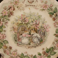 Brambly Hedge Tea Plate Royal Doulton Midsummers Day Made in England Royal Doulton Summer Collectible Decorative Plate Mice Pink Flowers