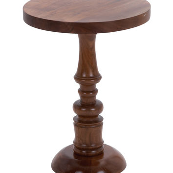 Wooden Round Shaped Pedestal Table With Traditional Design