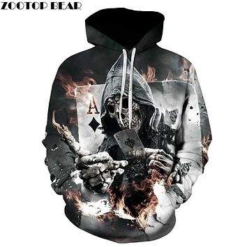 ZOOTOP BEAR New design skull poker print Men/Women Hoodies Funny 3D Sweatshirts Autumn Winter Pullover Hooded Tracksuits Fashion