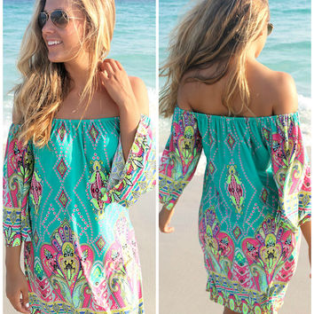 Bora Bora Off The Shoulder Quarter Sleeve Printed Jade Dress