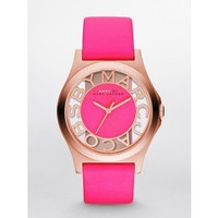 Marc Jacobs Rose Gold Henry Skeleton Pink Leather Ladies Watch