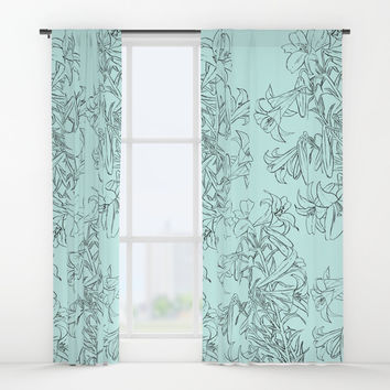 lily drawing in green background Window Curtains by Color and Color