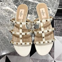 Valentino Fashion Women Rivet Slippers Sandals Shoes White