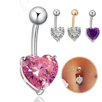 ac PEAPO2Q Fashion Love Heart belly button rings Bar Gold / Silver Plated Surgical Piercing Sexy Body Jewelry for women CZ navel piercing