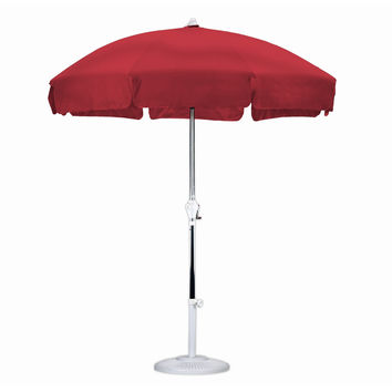 7.5 Foot Patio Umbrella with Push Button Tilt in Red Olefin Fabric