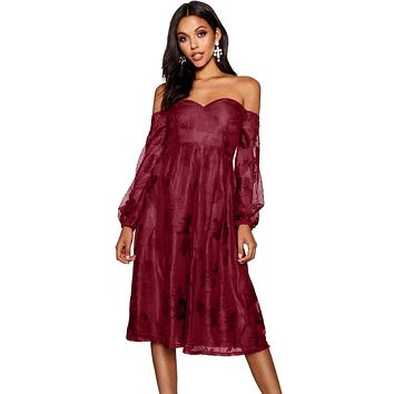 Burgundy Bardot Embroidered Gauze Party Dress