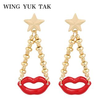 wing yuk tak 2018 Top Fashion New Cute Gold Color Bead Red Lip Metal Star Drop Earrings For Women Girls Party Jewelry Accessorie
