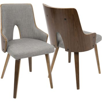 Stella Mid-Century Modern Padded Chairs, Walnut & Light Grey (Set of 2)