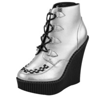 Silver Leather Creeper Wedge Bootie - T.U.K. Shoes