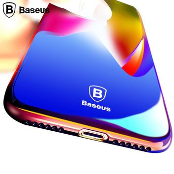 Baseus Colorful Case For iPhone 8 Case Ultra Slim Hard Plastic Gradient Back Cover For iPhone 8 Plus Case Protective Shell