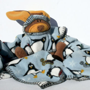 Snowflake Baby Blanket with Waldorf Bunny, its a Security Blanket, Blue snow with penguins sledding, a baby shower gift for a winter baby