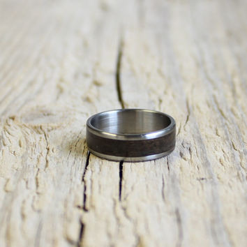 Wood ring for men wood and stainless steel unisex ring