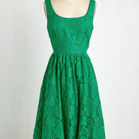 Long Sleeveless A-line Vivaciously Verdant Dress