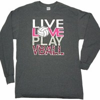 Volleyball Live Love Play Dark Heather Grey Long Sleeve T-Shirt