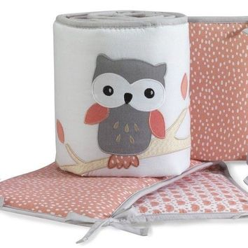 Lambs & Ivy Family Tree Coral/White/Gray Owl 4-Piece Baby Crib Bumper