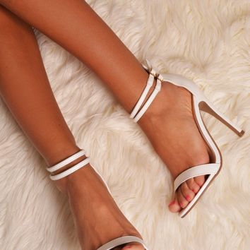 Tejana White Strappy Leather Look Stiletto Heel | Pink Boutique
