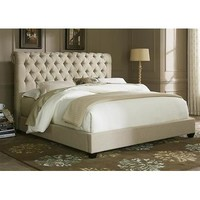 Liberty Furniture Upholstered Sleigh Bed in Natural Linen Fabric