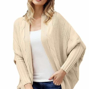 Apricot Luxe Cable Knit Open Front Cardigan