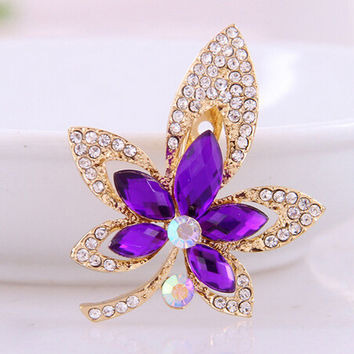 Fashion Bouquet Brooch Luxury Wedding Purple Blue Flower Crystal Rhinestone Jewelry Bride Brooch
