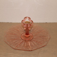 "1930's Pink Cambridge ""CLEO"" Etch Center Handled Depression Glass Server Tray Decagon Blank"