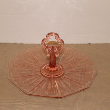 """1930's Pink Cambridge """"CLEO"""" Etch Center Handled Depression Glass Server Tray Decagon Blank"""