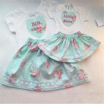Blue & Pink Floral Big Sister Little Sister Outfits
