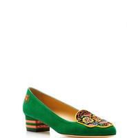 Day Of The Dead Embroidered Suede Loafers in Green