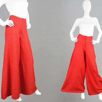 Vintage 70s Palazzo Pants Wide Leg Trousers High Waist Pants Red Palazzos Womens Slacks Huge Flares Light Crepe Poly 1970s Party Pants Disco
