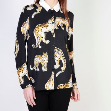 Cavalli Class Black Collar Long Sleeve Top
