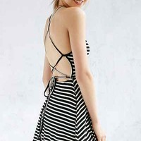 Silence + Noise Ribbed Lace-Up Back Fit + Flare Dress - Urban Outfitters