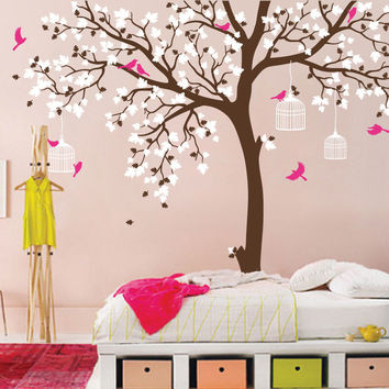 Bird Cage Tree Nursery Room Decor Baby Room Wall Decal Large Tree With Birds Leaves Wall Stickers For Kids Room Wall Tattoo D371