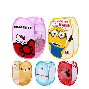 ICIK272 Minions Hello Kitty Folding Dirty Clothing Laundry Bucket Storage Basket Children's Toys Shoes Sundries Storage Organizer PY0021