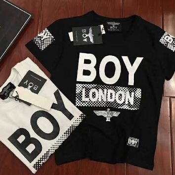 """Boy London"" Fashion Personality Numeral Letter Eagle Print Casual Unisex Short Sleeve Couple Shirt Top Tee"