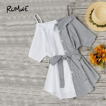 Contrast Stripe Self Tie Waist Shirt Dress Black And White Summer Dress Women Half Sleeve Bow Casual Dress