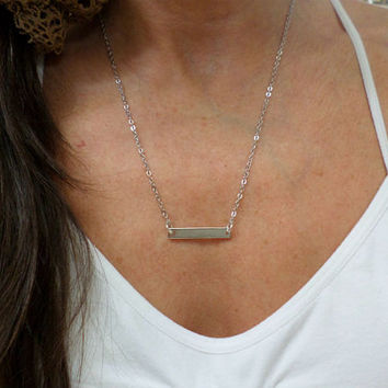 Sterling Silver Bar Necklace - Dainty Thin Silver Bar Pendant Layering Necklace - Sterling Silver Bar Horizontial Necklace
