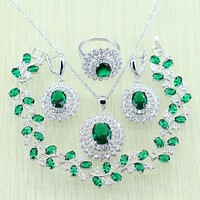 925 Logo Green Rhinestone White  Crystal Silver color Jewelry Set For Women Bracelets Necklace Earrings Ring Pendant